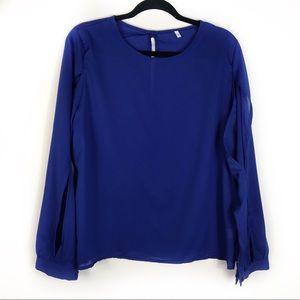 Tops - Plus Size Royal Blue Cold Arm Blouse